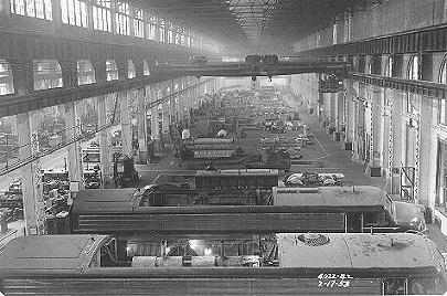 General View of Diesel Erecting and Mechanical Repair shops looking north to south. Reading Company photo, collection of The Reading Modeler.