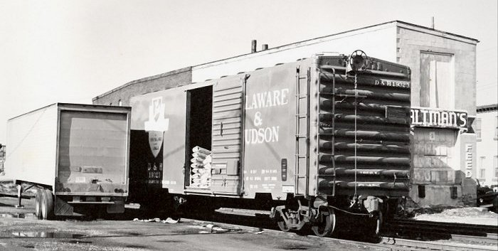 A Delaware & Hudson boxcar being delivered in Reading, PA.  Courtesy Bill Cauff.