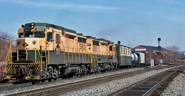 Reading freight led by a pair of GP-30s heads west on through Wyomissing Junction.  Dale Woodland Photo.