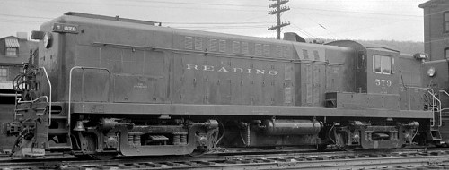 A view of 1952-class Reading Baldwin AS-16 #579.  Location appears to be Tamaqua, PA.