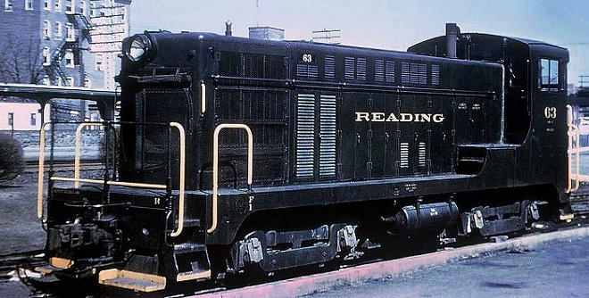 Reading Baldwin VO-660 #63 idles at Pottstown.  Note the round radiator grille.