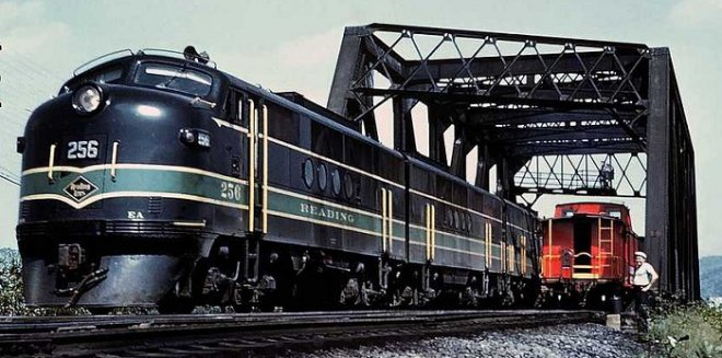 "Reading EMD FT #256 is on the point of the ""Star"" as it heads west out of Allentown in September, 1960."