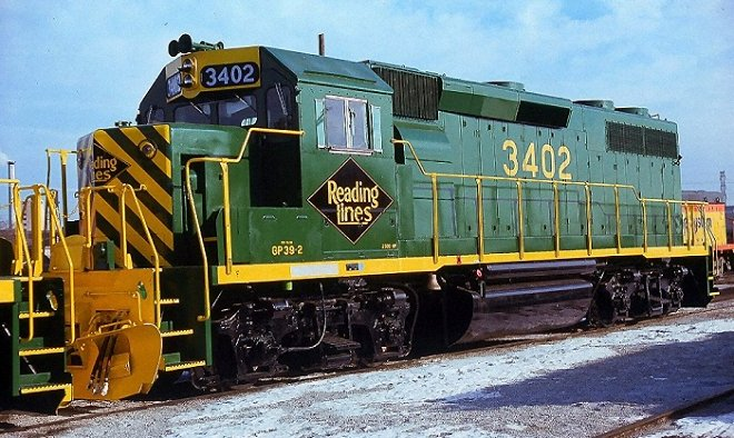 Reading GP39-2 #3402 awaiting delivery at EMD in Illinois.  Photo courtesy Kim Piersol.