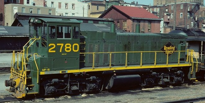 Reading MP-15 #2780 awaits its next assignment at Pottsville, PA.  Photo courtesy Kim Piersol.