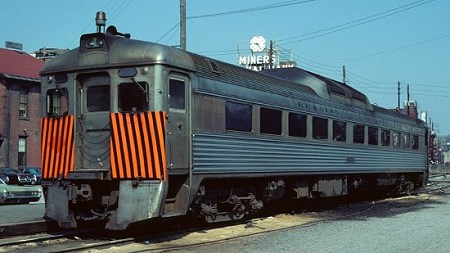 RDC #9151 lays over at Pottsville.  Note the strobe light and orange safety stripes added in the 1970s.  Photo courtesy Kim Piersol.