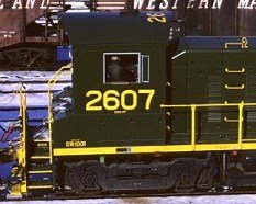 Detail view of Reading SW1001 #2607 showing numbers painted on the cab roof.  Photo courtesy Kim Piersol.