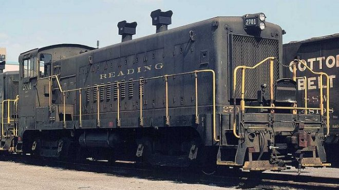 Reading EMD SW-1200m #2701.  This unit began as a Baldwin, and was later rebuilt with an EMD prime mover.