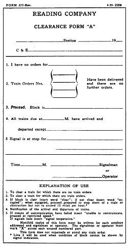 "Reading Company Clearance Form ""A"""