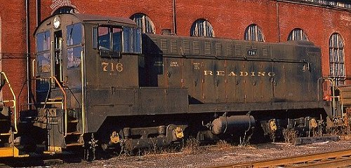 Baldwin DS4-4-1000 #716 was the shop switcher at the Reading Locomotive Shops until December, 1975.  Photo courtesy Kim Piersol.